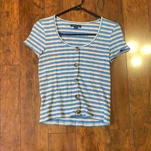 Striped Shortsleeved Shirt with Buttons